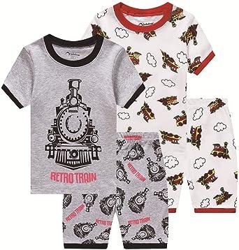 60d20b300 Pajamas for Boys Toddler Kids Train Clothes 4 Pieces Children Cartoon PJs  Short Set Sleepwear 5t