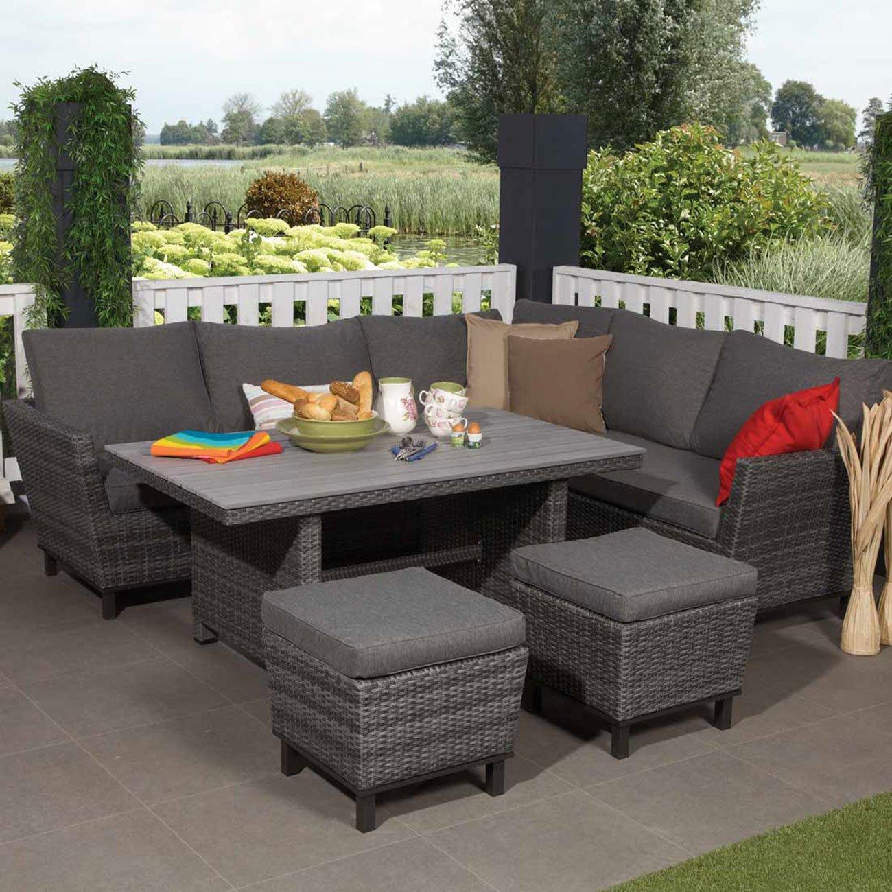 Amazonde Outliv Rattan Lounge Sitzlounge Garten Grau 5tlg M