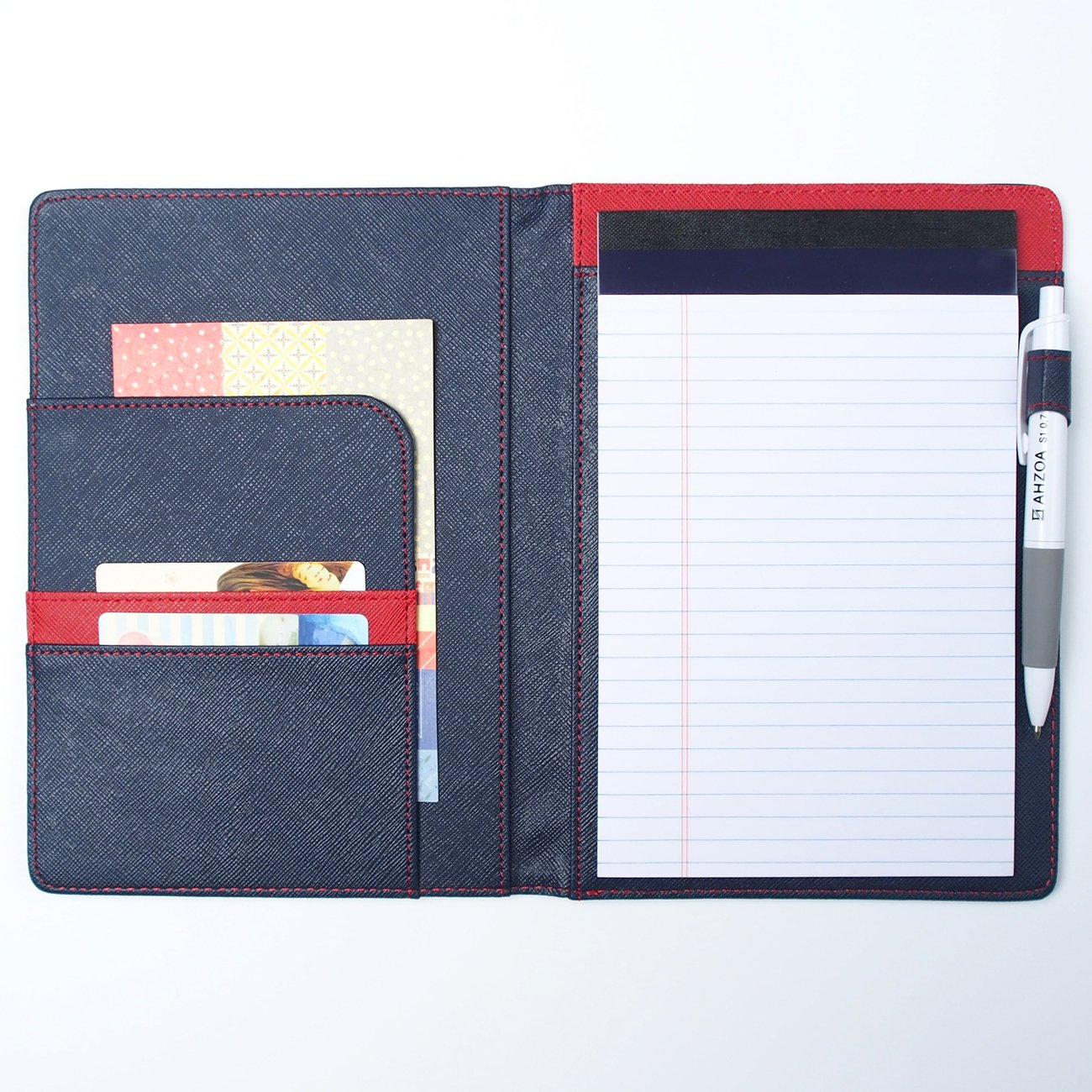 AHZOA 3 Pockets A5 Size Memo Padfolio S7 with Mechanical Pencil, Including 5 X 8 Inch Legal Writing Pad, Synthetic Leather Handmade 6.3 X 8.78 Inch Notepad Clipboard Holder (Navy)