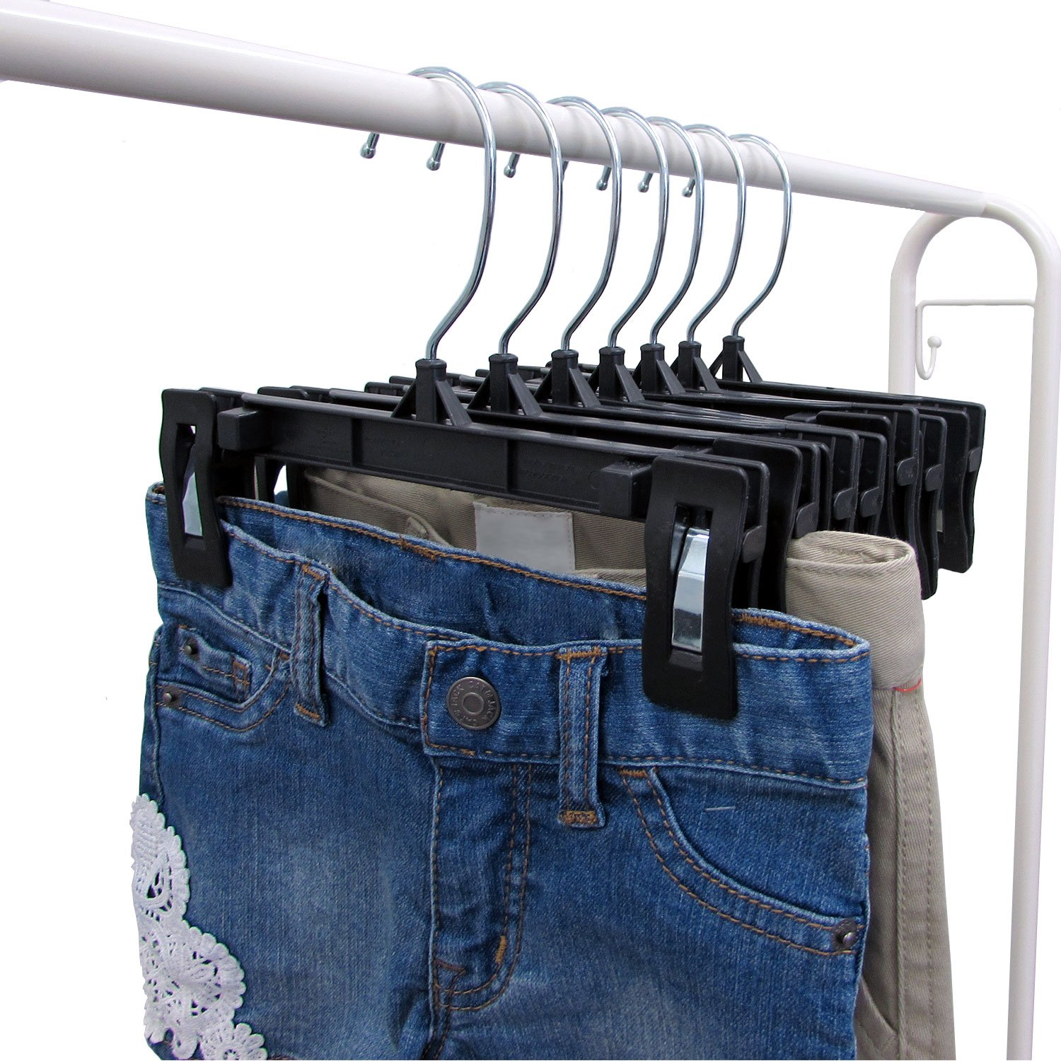 25 Pack Black 8 Inch Hanger Central Recycled Heavy Duty Plastic Bottoms Hangers with Ridged Pinch Clips Pants Hangers