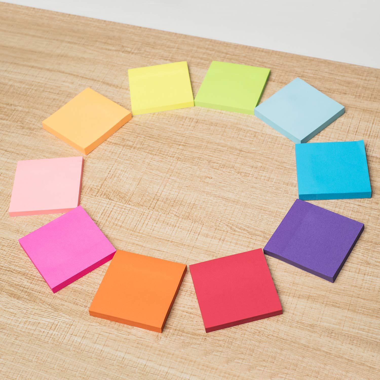 16 blocchetti da 100 confezionati singolarmente misura 76 x 76 mm in 8 colori fluo assortiti removibili ZCZN foglietti adesivi per appunti