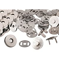 Magnetic Buttons - 100-Pack Magnetic Clasps, Snaps, Fasteners, Button Kit, Perfect for Purse, Bag, Clothes, Leather, Silver, 0.71 Inches Diameter