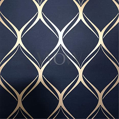 Clifton Wave Geometric Wallpaper Navy Gold World Of