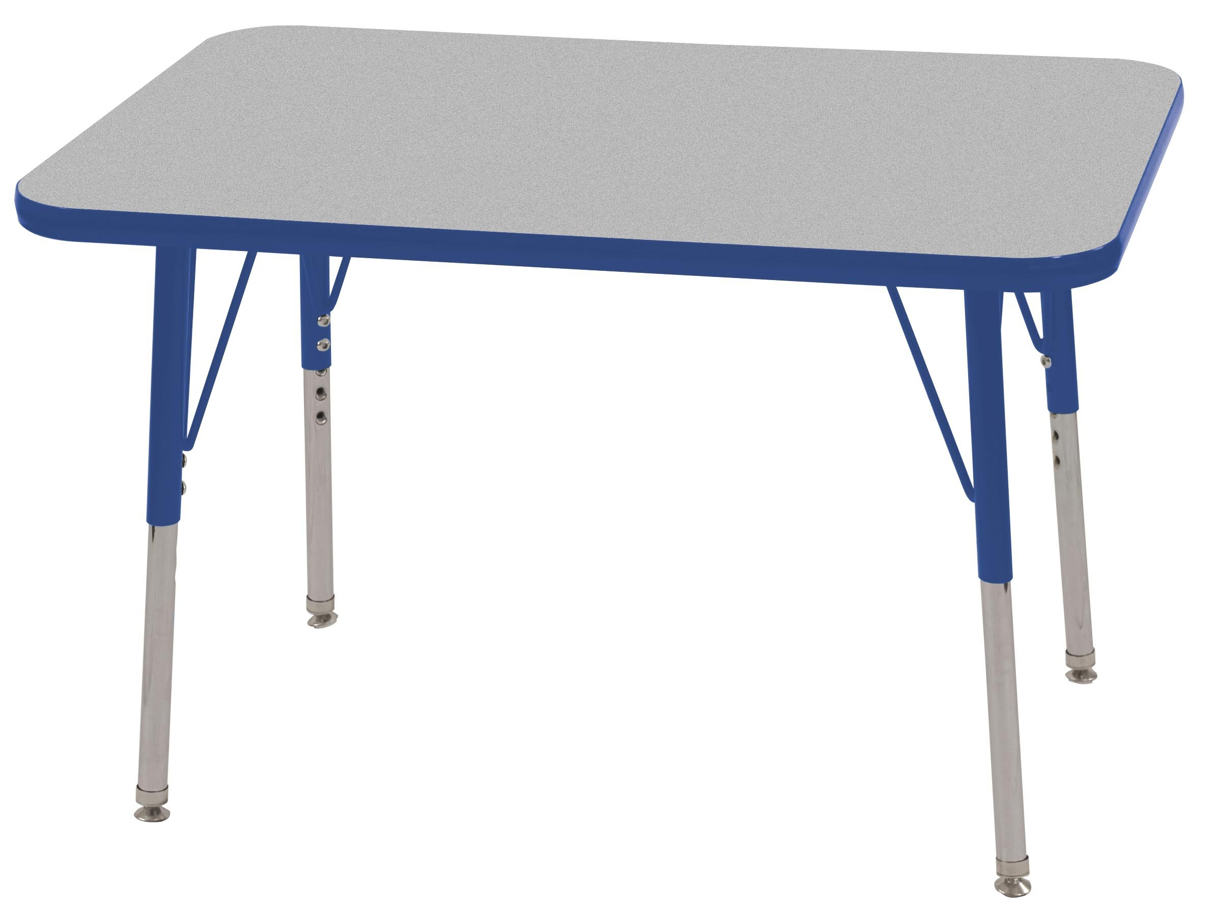 ECR4Kids T-Mold 24'' x 36'' Rectangular Activity School Table, Toddler Legs w/ Swivel Glides, Adjustable Height 15-23 inch (Grey/Blue)