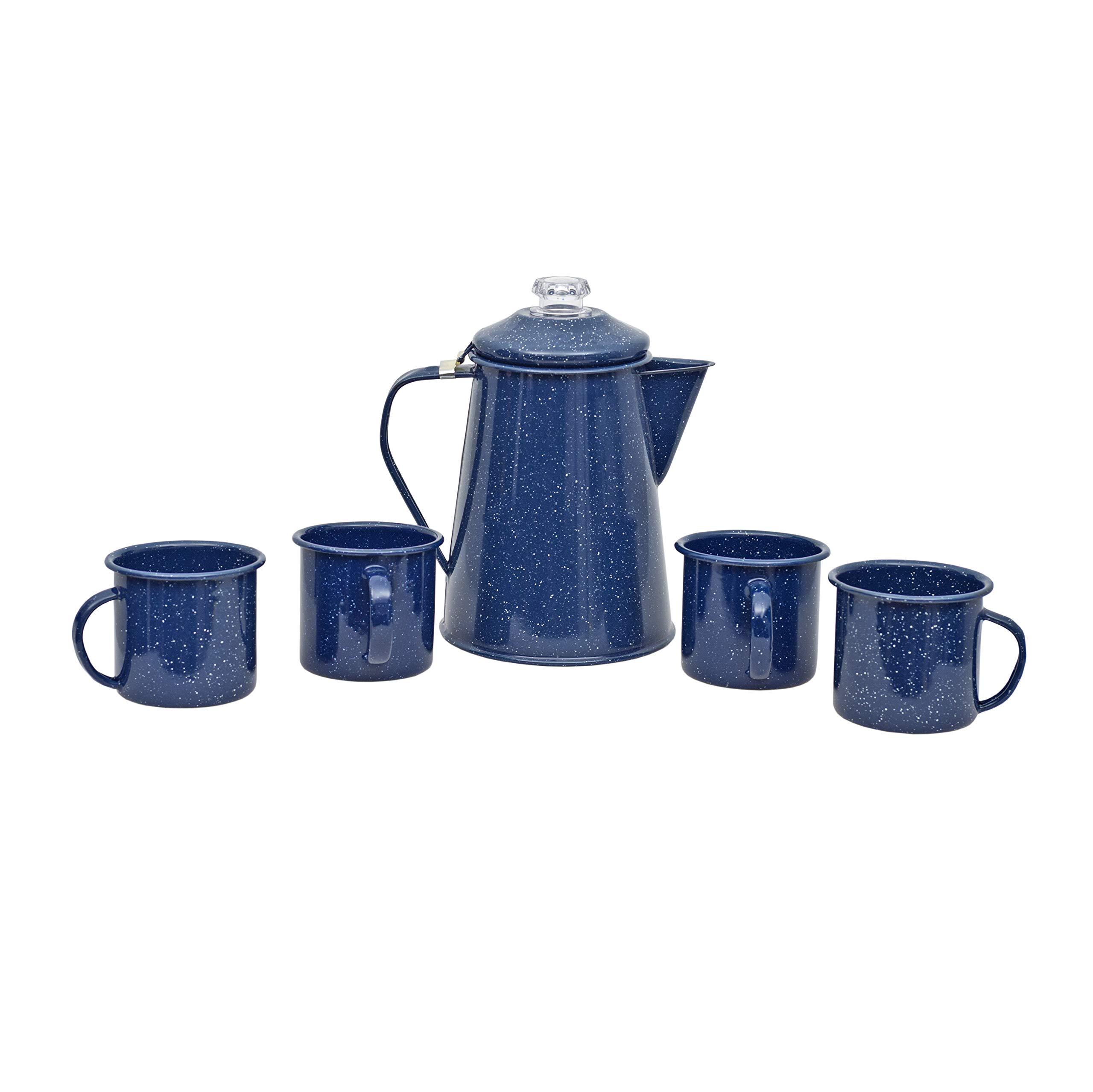 Granite Ware F0319DS-1 Casual Living 2QT Percolator, 4 12oz Mugs-Blue Coffee Percolator & Mug Set, 5 pc by Granite Ware