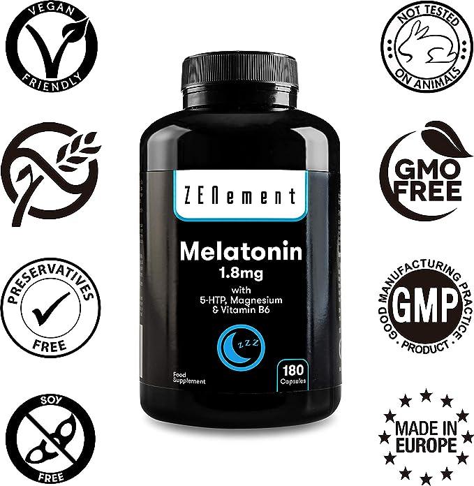 Melatonina 1,8 mg con 5-HTP, Magnesio y Vitamina B6, 180 Cápsulas | Ayuda con el insomnio o trastornos del sueño | Vegano, No-GMO, GMP, libre de aditivos, sin Gluten | de Zenement:
