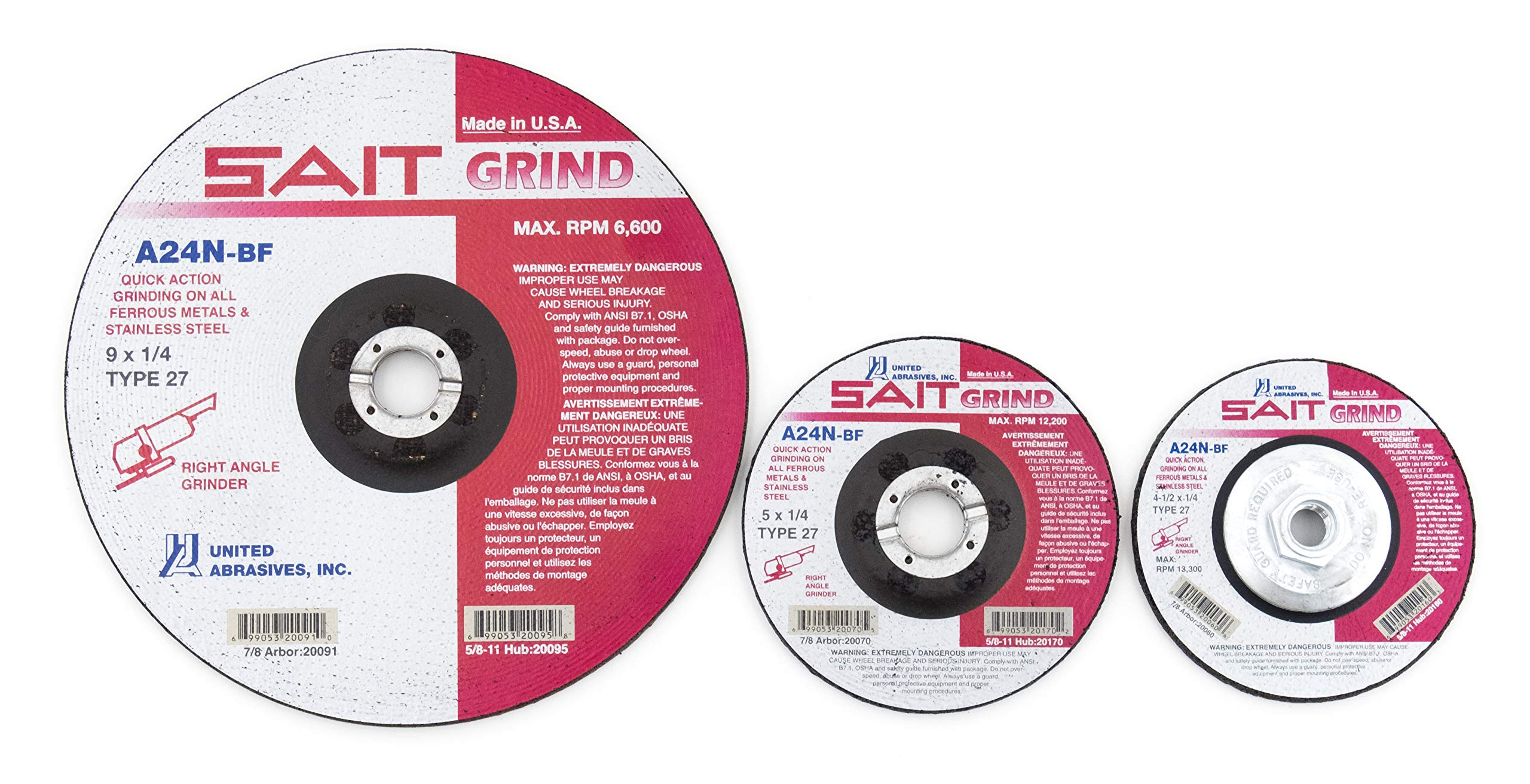 United Abrasives-SAIT 20070 Type 27 5-Inch x 1/4-Inch x 7/8-Inch Grade A24N Fast Grinding Long Life Depressed Center Grinding Wheels, 25-Pack
