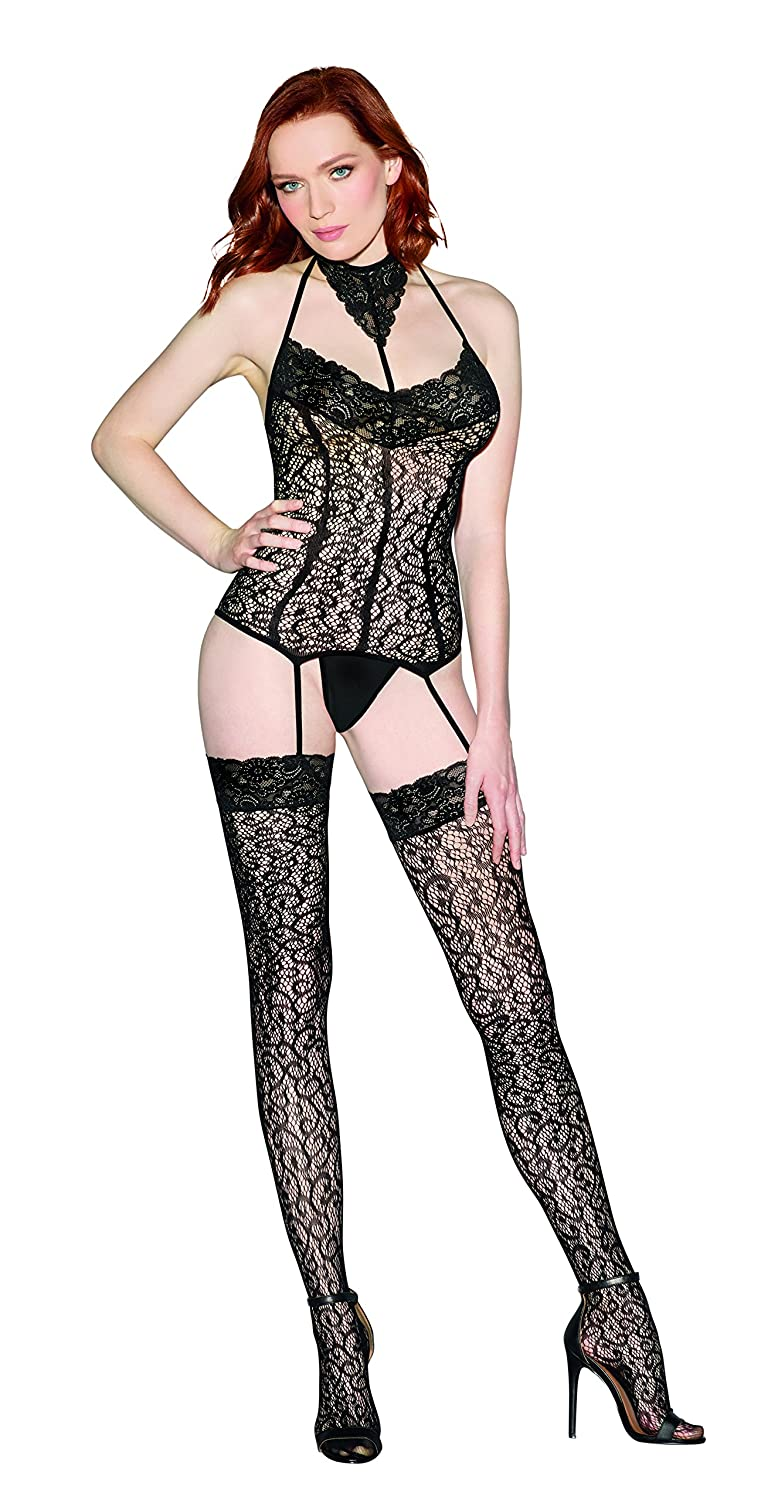 9a49518ed4 Amazon.com  Lace Bustier Bodystocking Lingerie with Ornate Lace Collar   Clothing