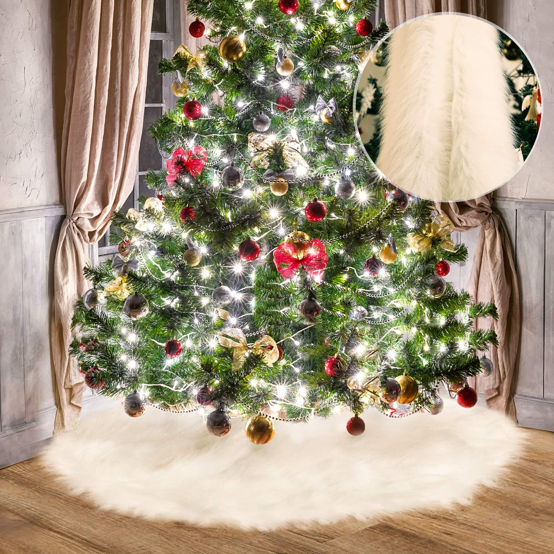 Tatuo White Faux Fur Christmas Tree Skirt Snow Tree Skirts For