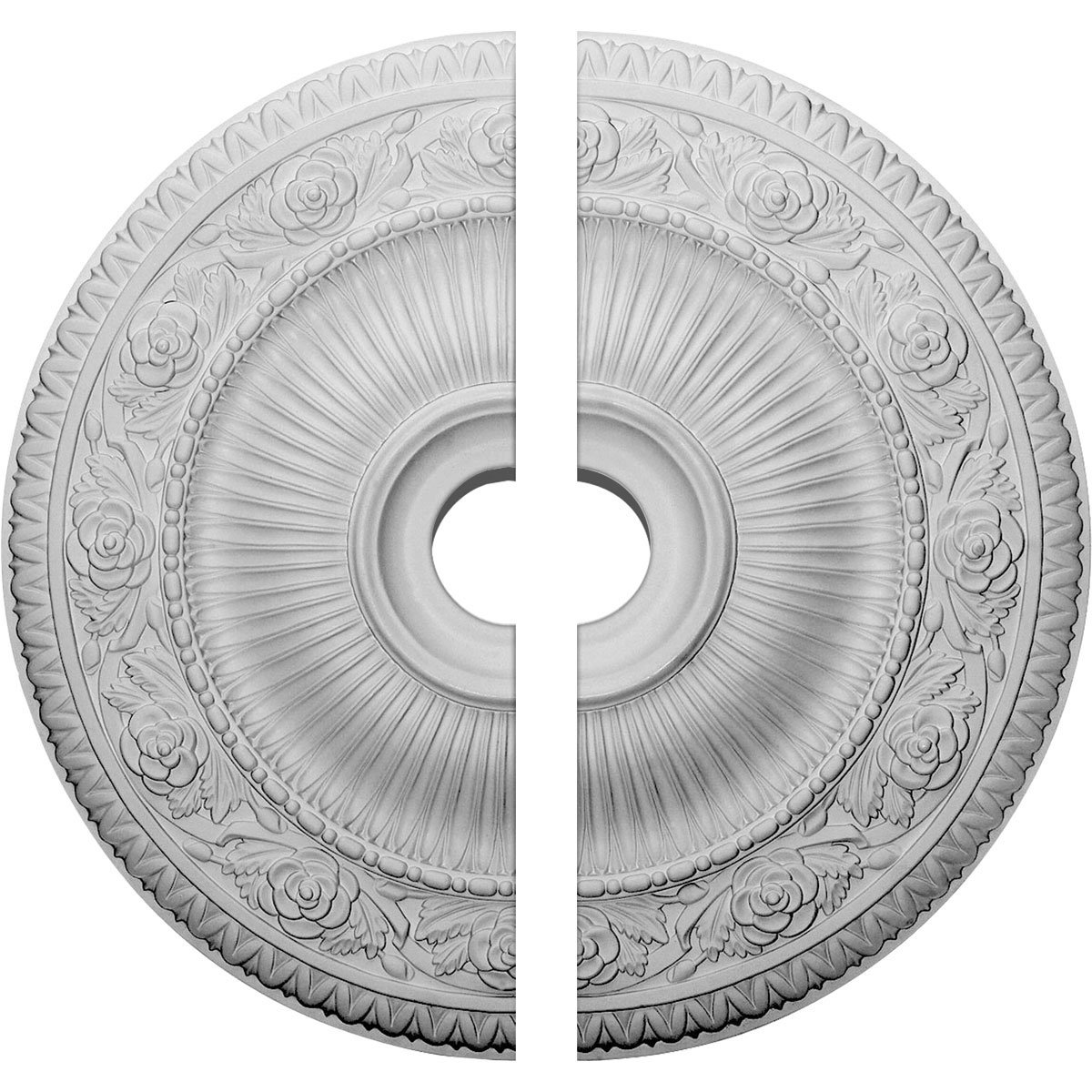 Ekena Millwork CM24LO12 24 1/4''OD x 3 7/8''ID x 2''P Logan Ceiling Medallion, Two Piece (Fits Canopies up to 6 1/8''), Factory Primed White