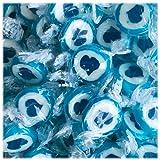 Herzbonbons zu Hochzeit Taufe Kommunion 500g blau-weiß - handgewickelte Rocks-Bonbons mit blauem Herz - Sorte Himbeere - Tischdeko Nascherei Gastgeschenk