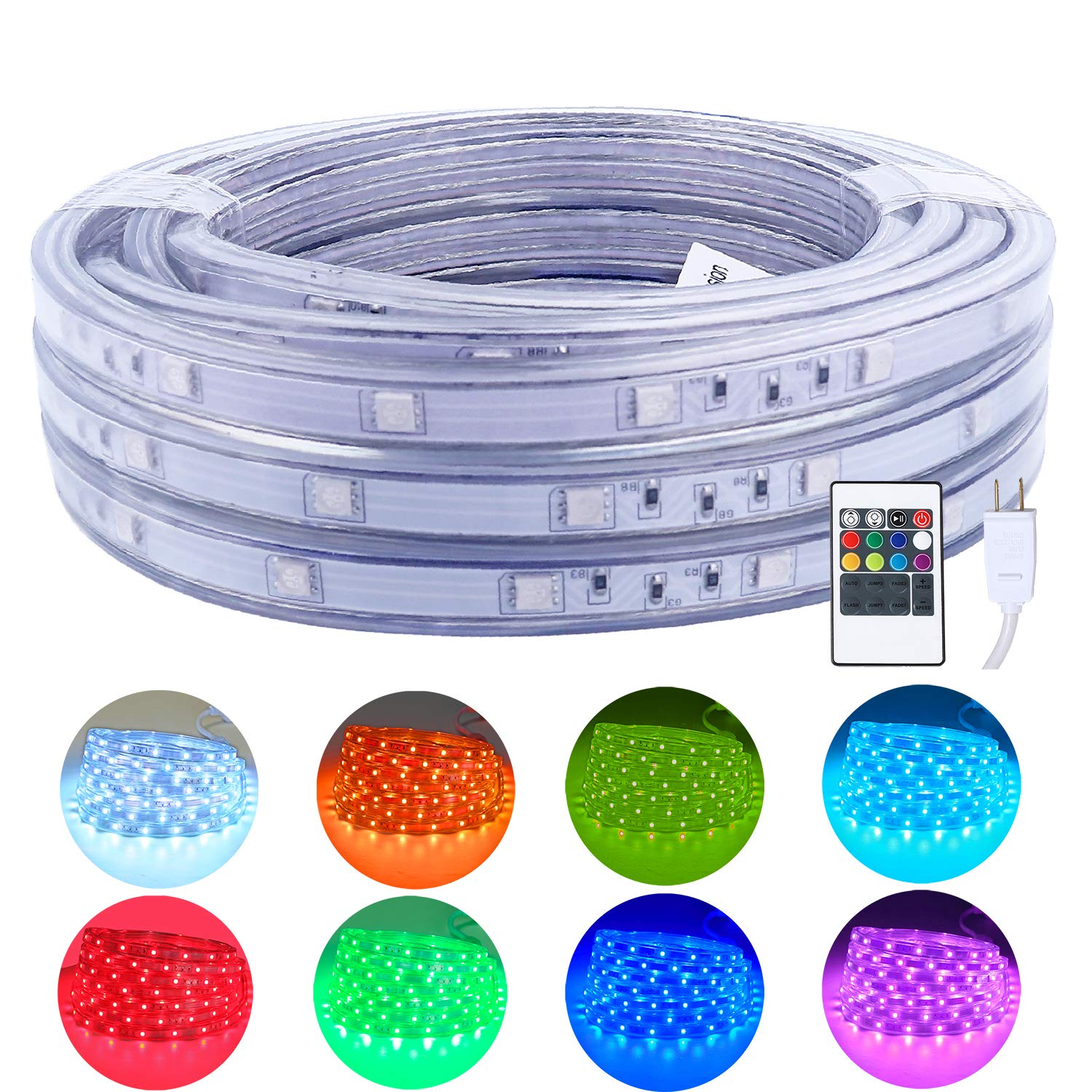 Areful 16.4ft LED Rope Lights, Color Changing Strip Lights with Remote, Flat Flexible Connectable and Dimmable, Waterproof for Indoor Outdoor Use, 8 Colors and 6 Modes