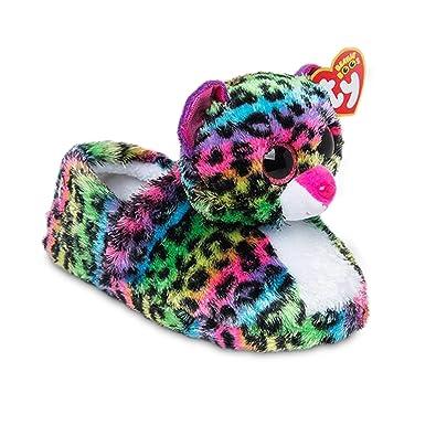 76583a54a1f TY Beanie Boos Kids Girls Big Head Dotty Leopard Non Skid Plush Slippers