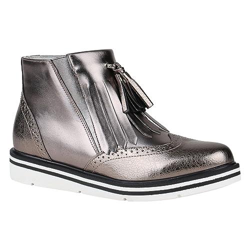 bbd9b62535eda4 Damen Schuhe Klassische Stiefeletten Quasten Metallic Boots Flache 150463  Grau Metallic Quasten 36 Flandell