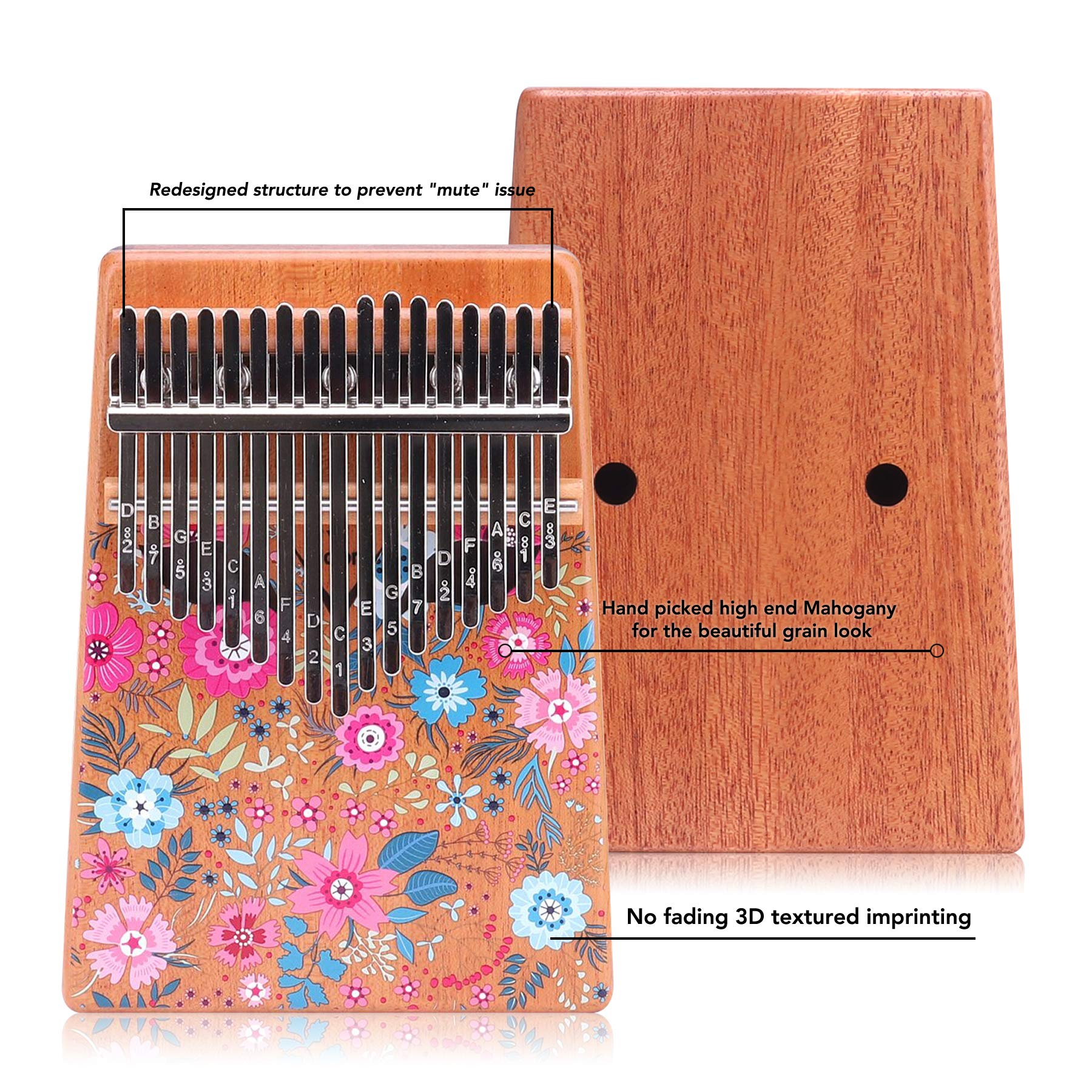 VI VICTORY 17 Key 3D Painted Kalimba African Thumb Piano Finger Percussion Keyboard Music Instruments - Sakura 2 by VI VICTORY (Image #1)