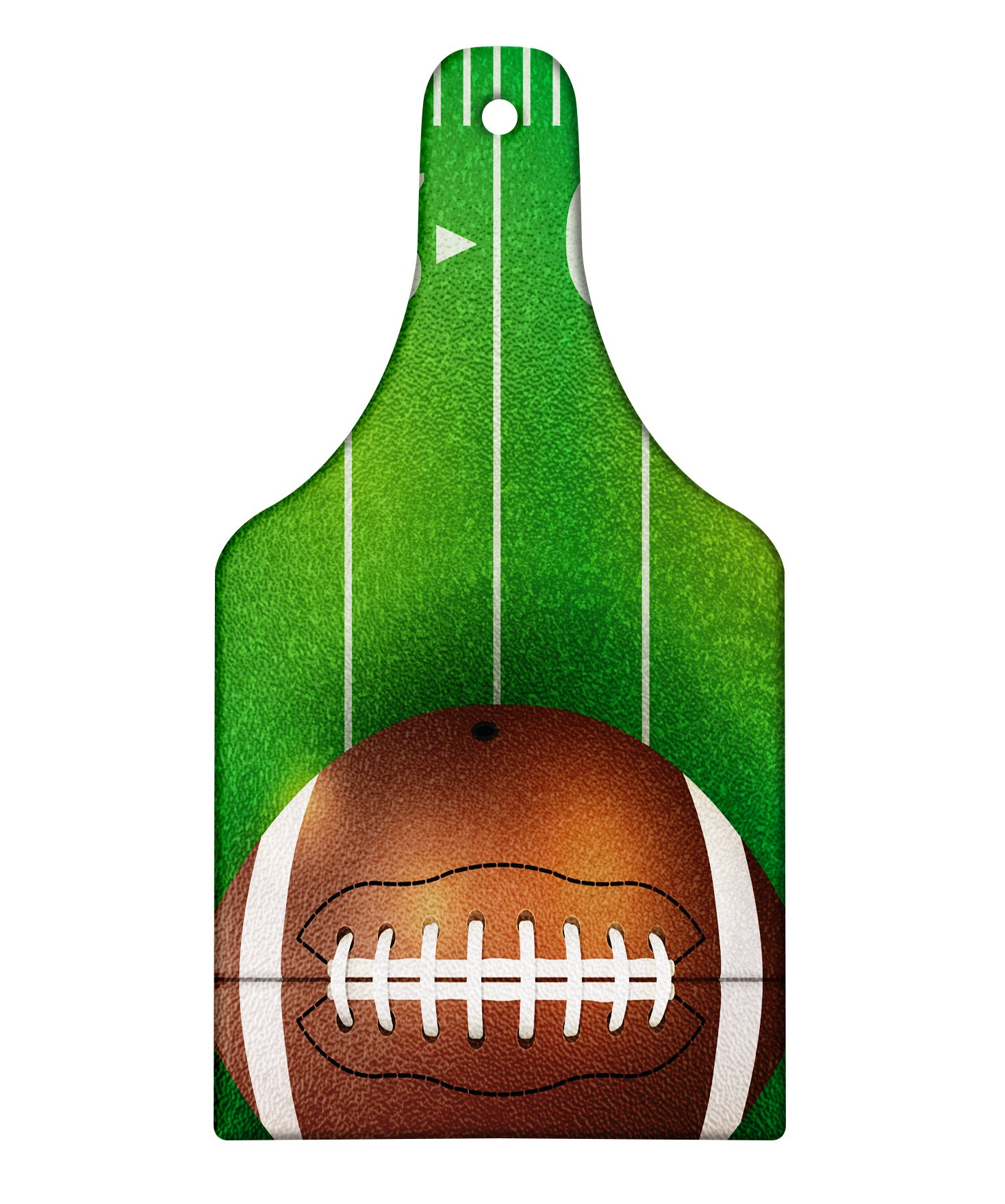 Lunarable Boy's Room Cutting Board, American Football Field and Ball Realistic Vivid Illustration College, Decorative Tempered Glass Cutting and Serving Board, Wine Bottle Shape, Green Brown White by Lunarable (Image #1)