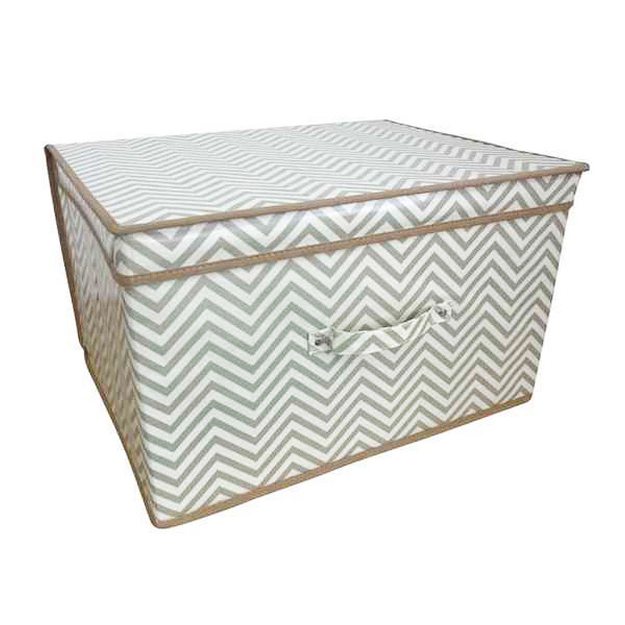 Children/Kids Chevron Design Folding Storage Chest (One Size) (White/Gray)