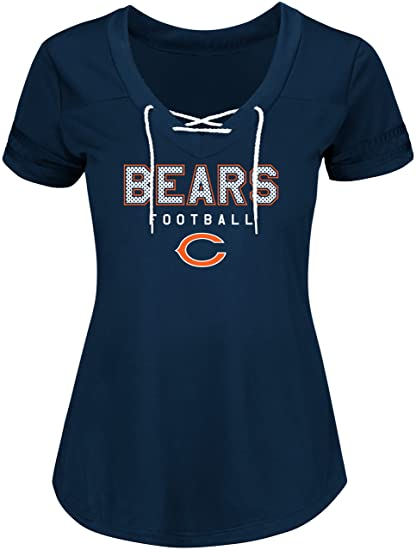 Amazon.com   NFL Women s Short Sleeve V-Neck Synthetic Lace Up Tee ... 7b2a8a50f