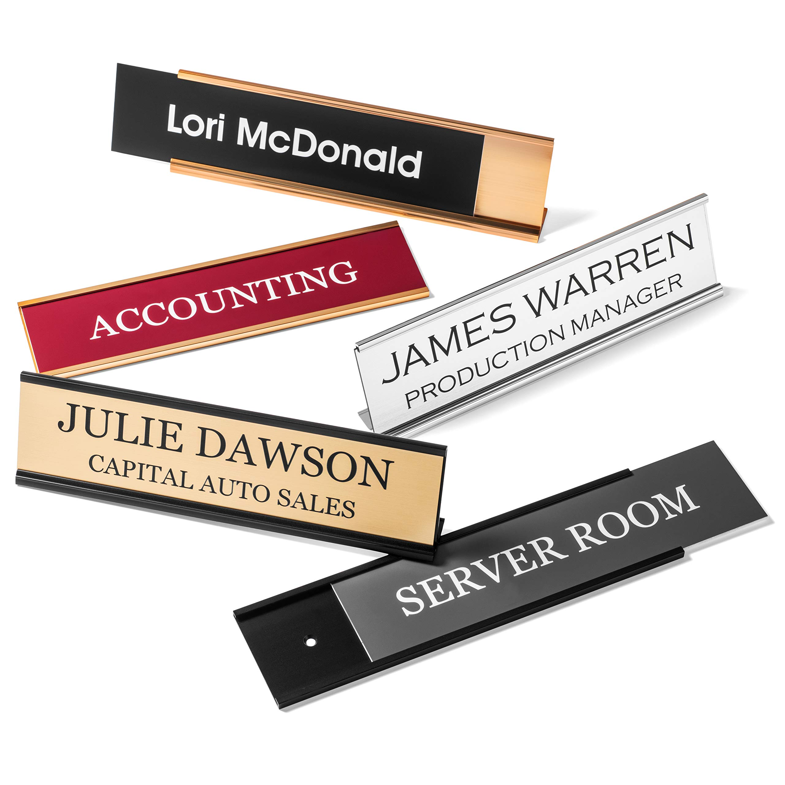 Personalized Desk Name Plates - Custom Office Wall Name Plates - with Holder - 2X8 by Providence Engraving