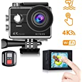 Action Camera 4K Waterproof Underwater Cameras WiFi 2 Inch Touch Screen Sports Camera Helmet Bike Camera HD 16MP with Remote Control 2 Batteries Free Mounting Accessory Kits Compatible with Go Pro