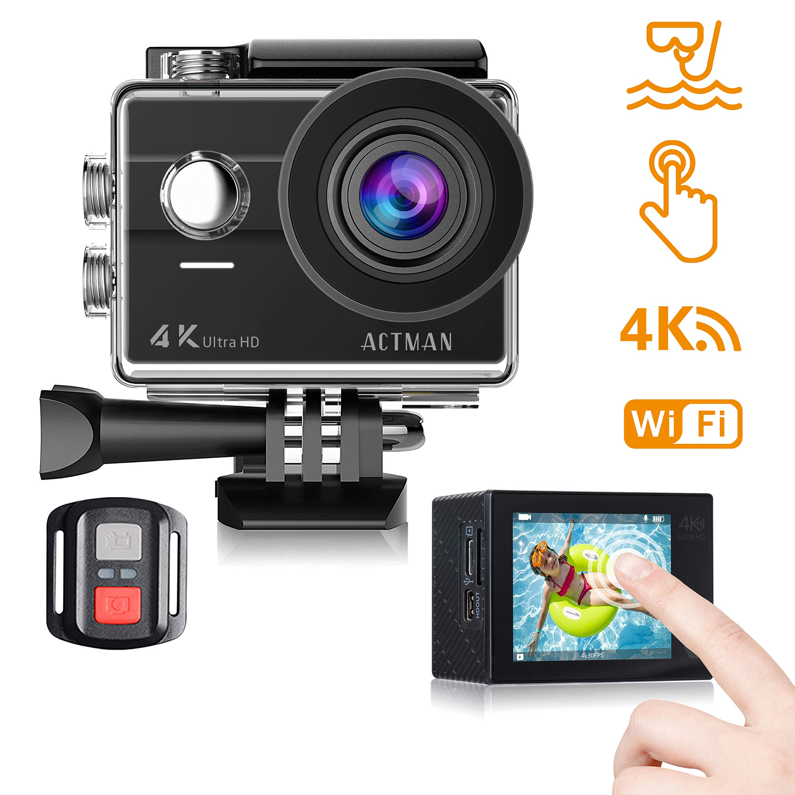 ACTMAN Action Camera 4K 16MP Touch Screen Underwater Waterproof Cam with WiFi, Wrist Remote Control and 2 Batteries, 23 Accessories Kit Compatible with Go Pro