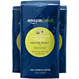 AmazonFresh 公平贸易秘鲁全豆咖啡,中度烘焙, 12 Ounce /340g (3包)