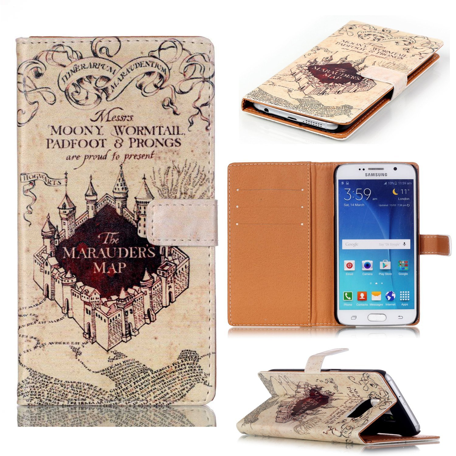 Pro 3 tablet sleeve case slim wallet pu leather protective skin pouch - Amazon Com S6 Edge Case Galaxy S6 Edge Wallet Case Hogwarts Marauder S Map Pattern Slim Wallet Card Flip Stand Pu Leather Pouch Case Cover For Samsung