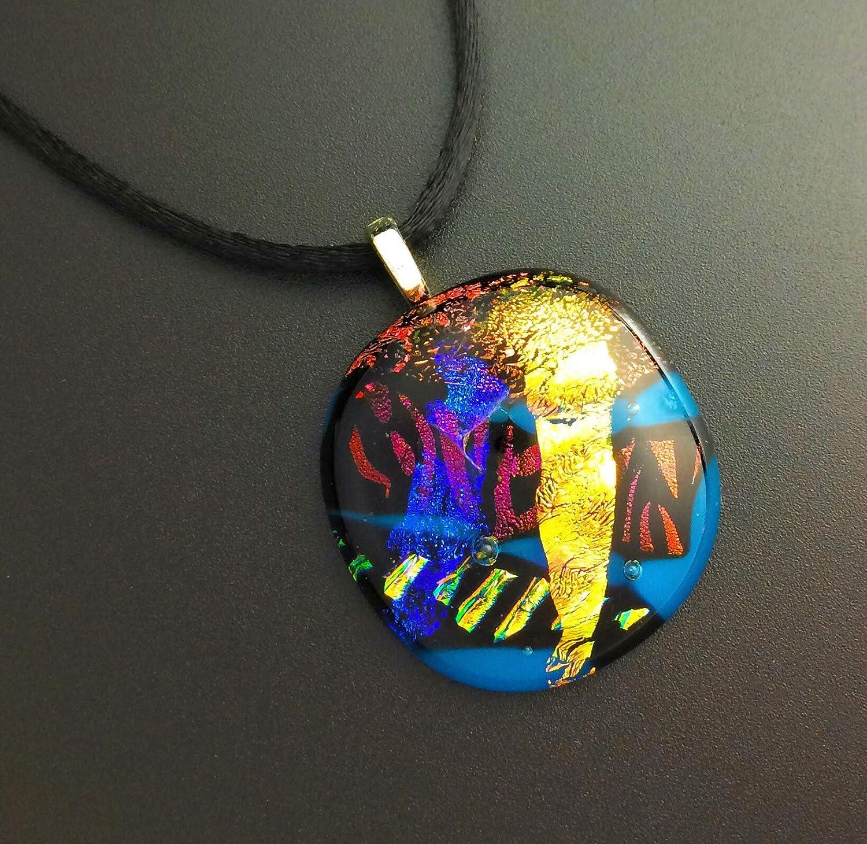Dainty Fused Glass Pendant \u2013 Teardrop Shaped Dichroic Glass Jewelry \u2013 Great Accessory for Casual Wear \u2013 82-18