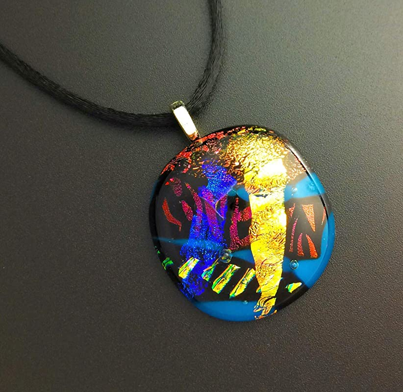 Rectangle Pendant Neon Jewelry Valentine gifts blue Pendant fused glass Cobalt dichroic jewelry