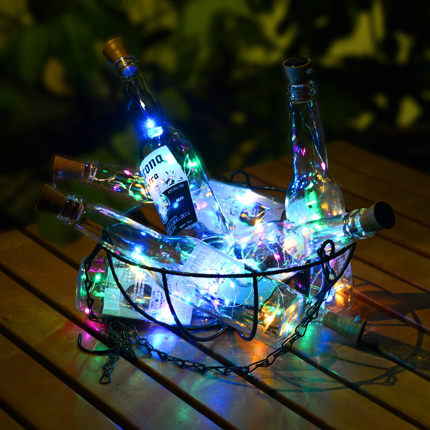 Okapia 5 Pack Colorful Starry String Lights Solar Wine Cork Firefly Lights 3.3ft 10 LED for Home Decoration Multi-Color