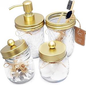 eatelle Mason Jar Bathroom Accessories 4 Pieces Set, Hand Soap Dispenser & Toothbrushes Holder, 2 Apothecary Jars (Qtip Set) Countertop Vanity Organizer-Rustic Farmhouse Home Decor, Gold - Soft Brass