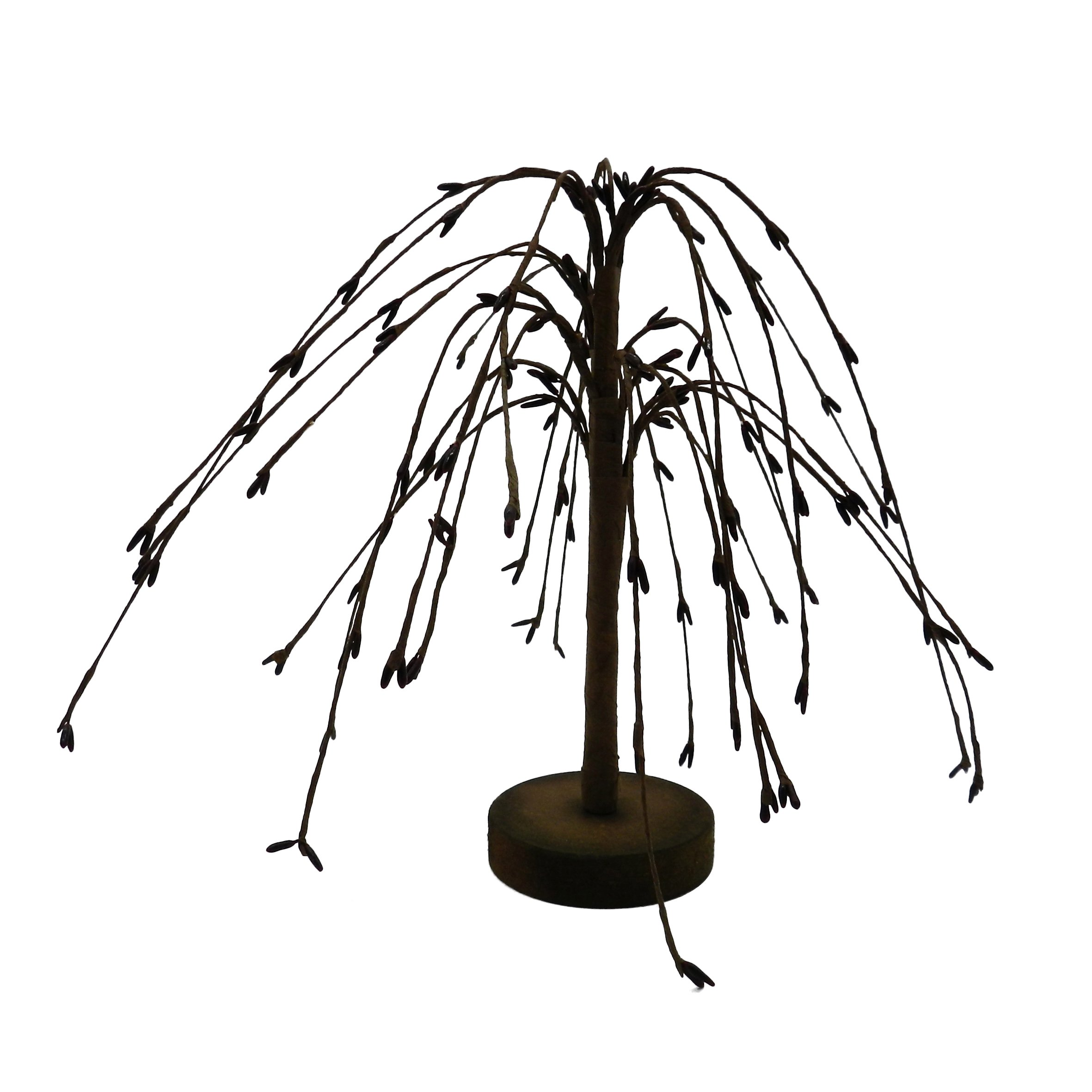 CVHOMEDECO. Burgundy Pip Berry Weeping Willow Tree Country Vintage Decoration Art, 7-Inch