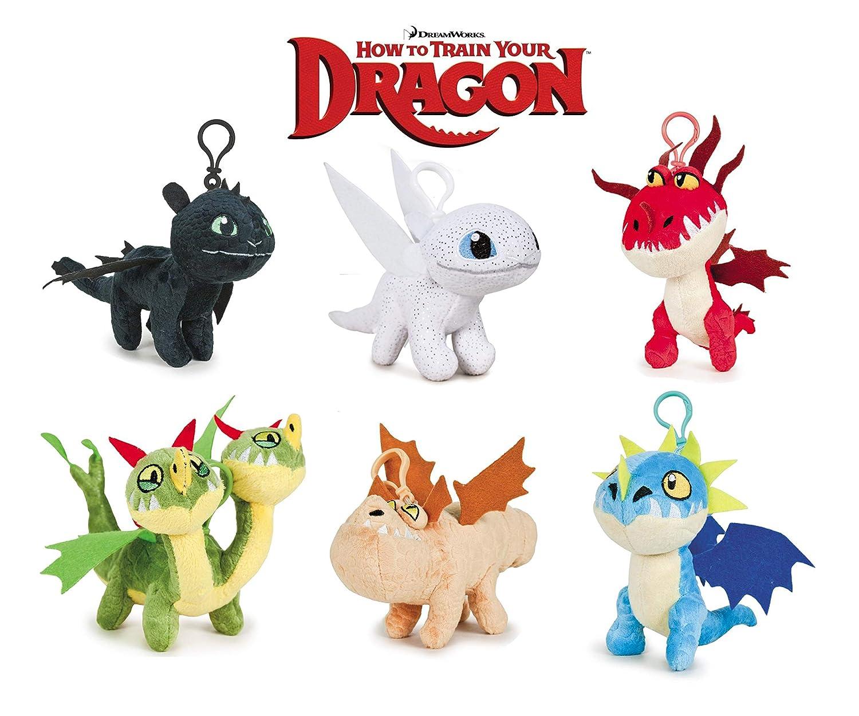 HTTYD Dragons, como Entrenar a tu dragón - Pack de 6 Peluche Llavero de Dragones 11cm Calidad Super Soft 760017680