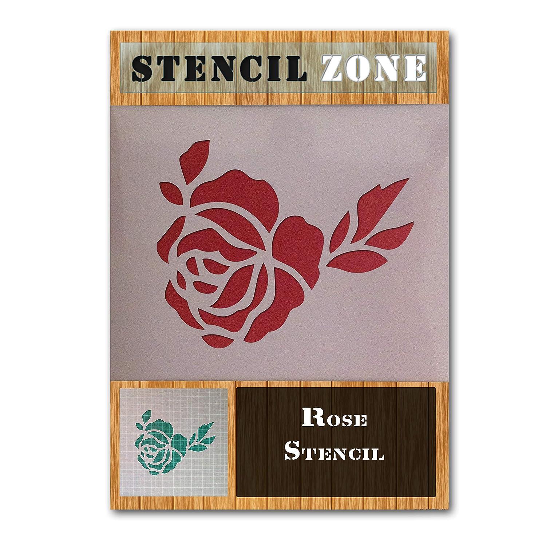 Flor Rosa Planta de Mylar Aerógrafo Pintura Pared Arte plantilla de vidrio de madera de cinco