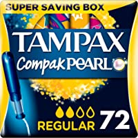 Tampax Pearl Compact Regular Applicator Active Fresh, Tampon for Comfort, Protection, Discretion, Super Saving Box, 18-Count (4-Pack)