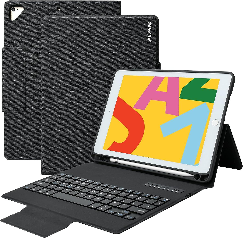 iPad Keyboard Case 9.7 for iPad 6th Gen 2018, iPad 5th Gen 2017,iPad Pro 9.7 inch,iPad Air 2 Air 1,with Pencil Holder Bluetooth Wireless Keyboard,360 Rotatable 9.7 iPad Cover with Keyboard (Black)