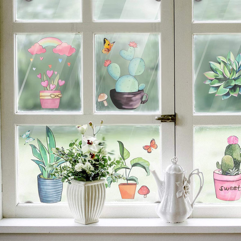 color verde Pajaver Adhesivos decorativos para ventanas de plantas de cocina