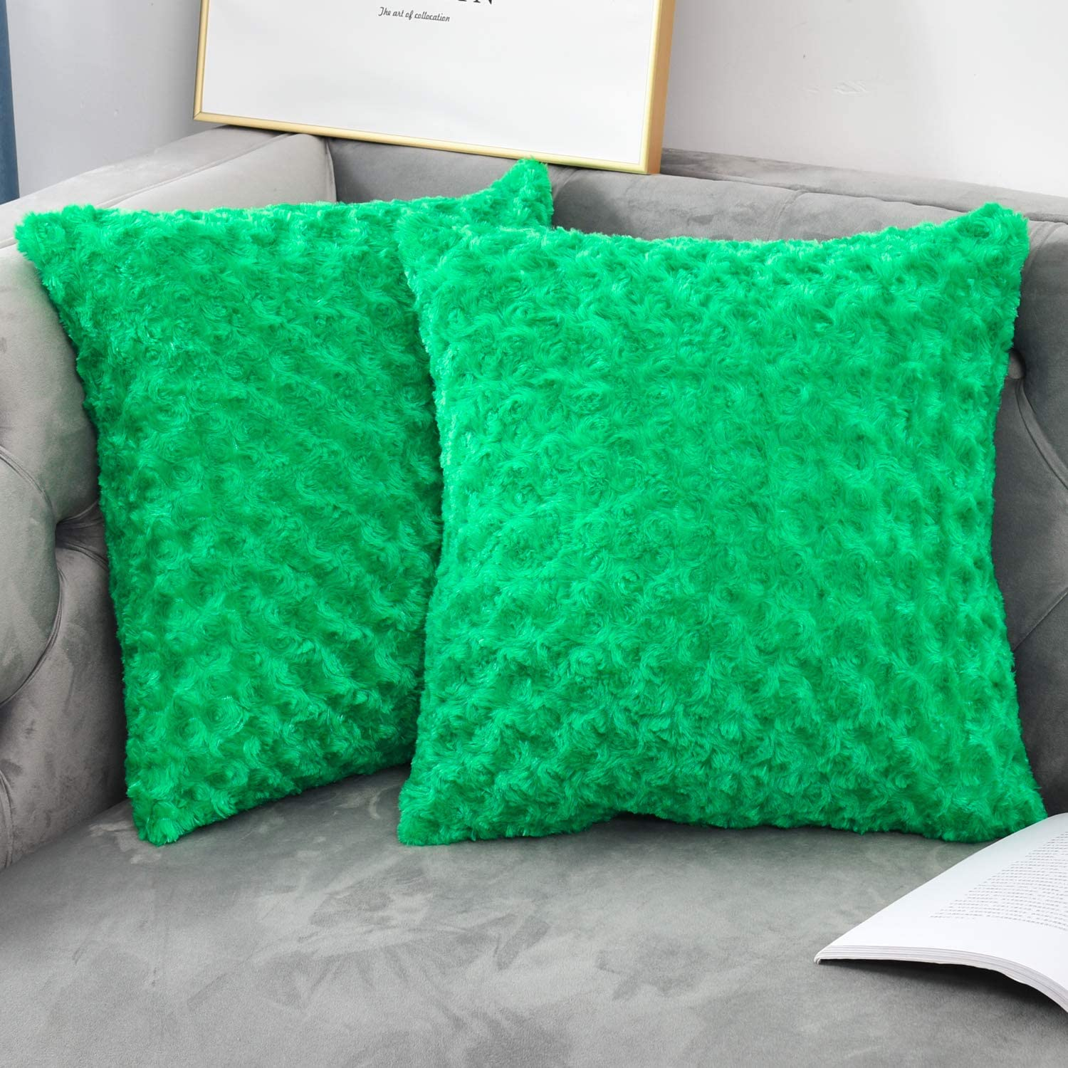 Amazon Com Nianer Square Faux Fur Throw Pillow Covers Set Of 2 Soft Solid Fall Winter Decorative Couch Cushion Pillow Cases 18x18 Green Home Kitchen