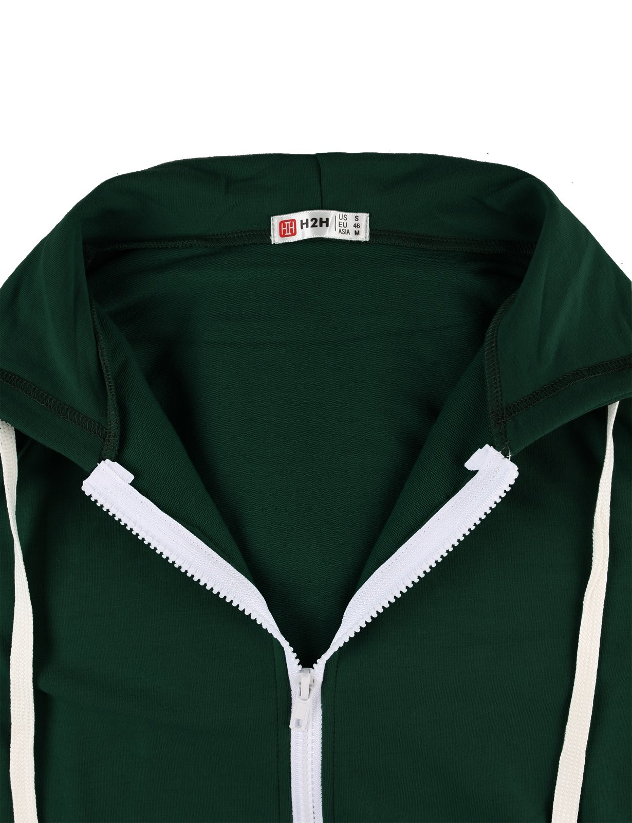 H2H Men's Casual Striped Drawstring Hooded And Zipper Closure Hoodies FORESTGREEN US XL/Asia XXXL (JNSK24) by H2H (Image #5)
