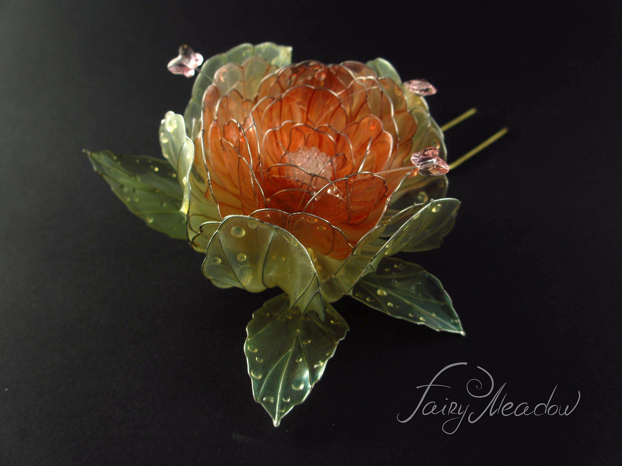 Big Sunrise Flower Handmade Hair Pin Clip Pink Pearl Bridal Kanzashi Resin Stick