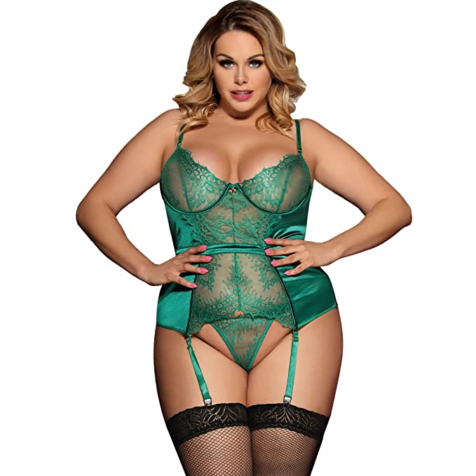8bc44ac983a Lovely Lies Sexy Corset Lingerie and Garter Set Plus Size Push Up Underwire  Bra