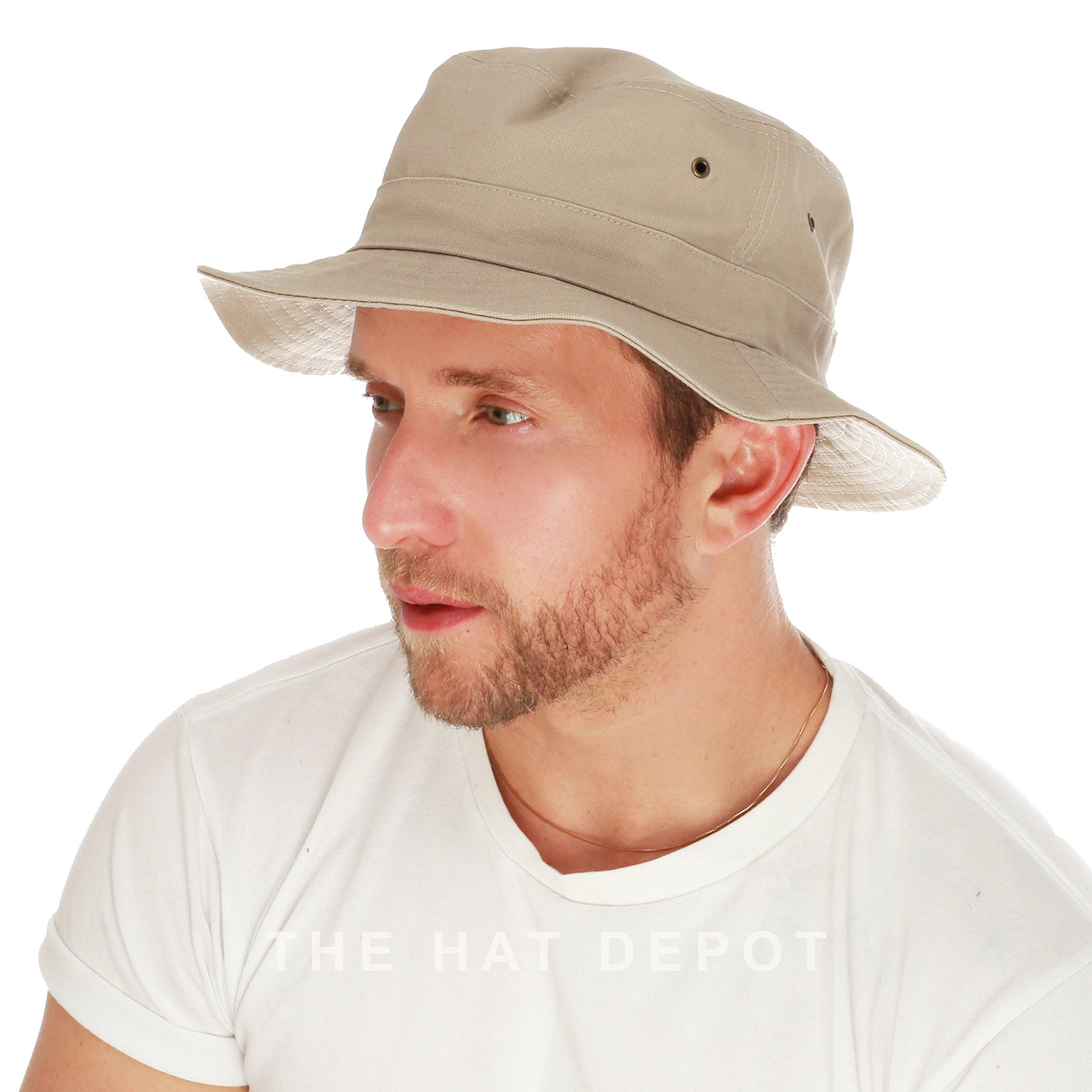THE HAT DEPOT 100% Cotton Canvas Packable Summer Travel Bucket Hat (L/XL, Khaki)