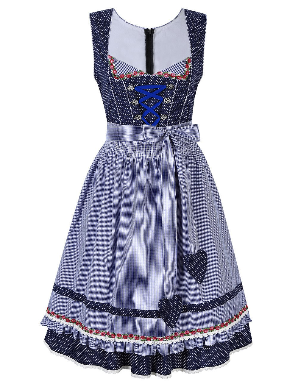 Leoie Kojooin Women's 2 Pcs Dirndl Dress Bavarian Beer Oktoberfest Costume Blue 36
