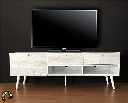Curvasa - Mesa TV Color Roble Blanco 150 x 42 x 52 cm Harmony ...