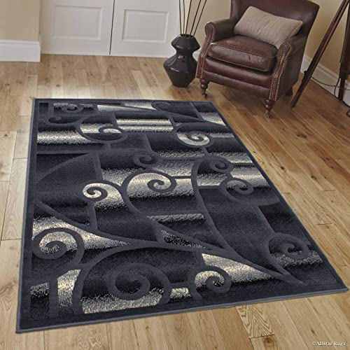 Allstar 8×10 Grey Modern and Contemporary Machine Carved Rectangular Accent Rug with Ivory and Charcoal Grey Swirl Design 7 9 x 10 2