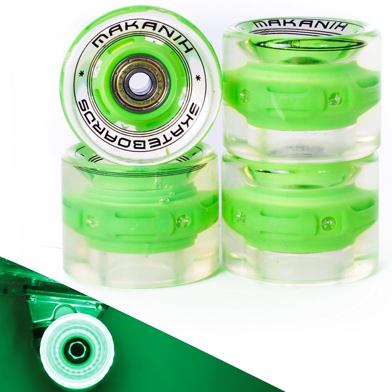 Makanih 4 LED Bombilla Tarjeta Ruedas para Penny Skateboard Minicruiser City 60 * 45 MM - PU dureza 85 Spin Fire - 1 año de garantía, Verde: Amazon.es: ...