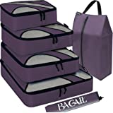 BAGAIL 6 Set Packing Cubes,Travel Luggage Packing Organizers with Laundry Bag (Dark Grey)