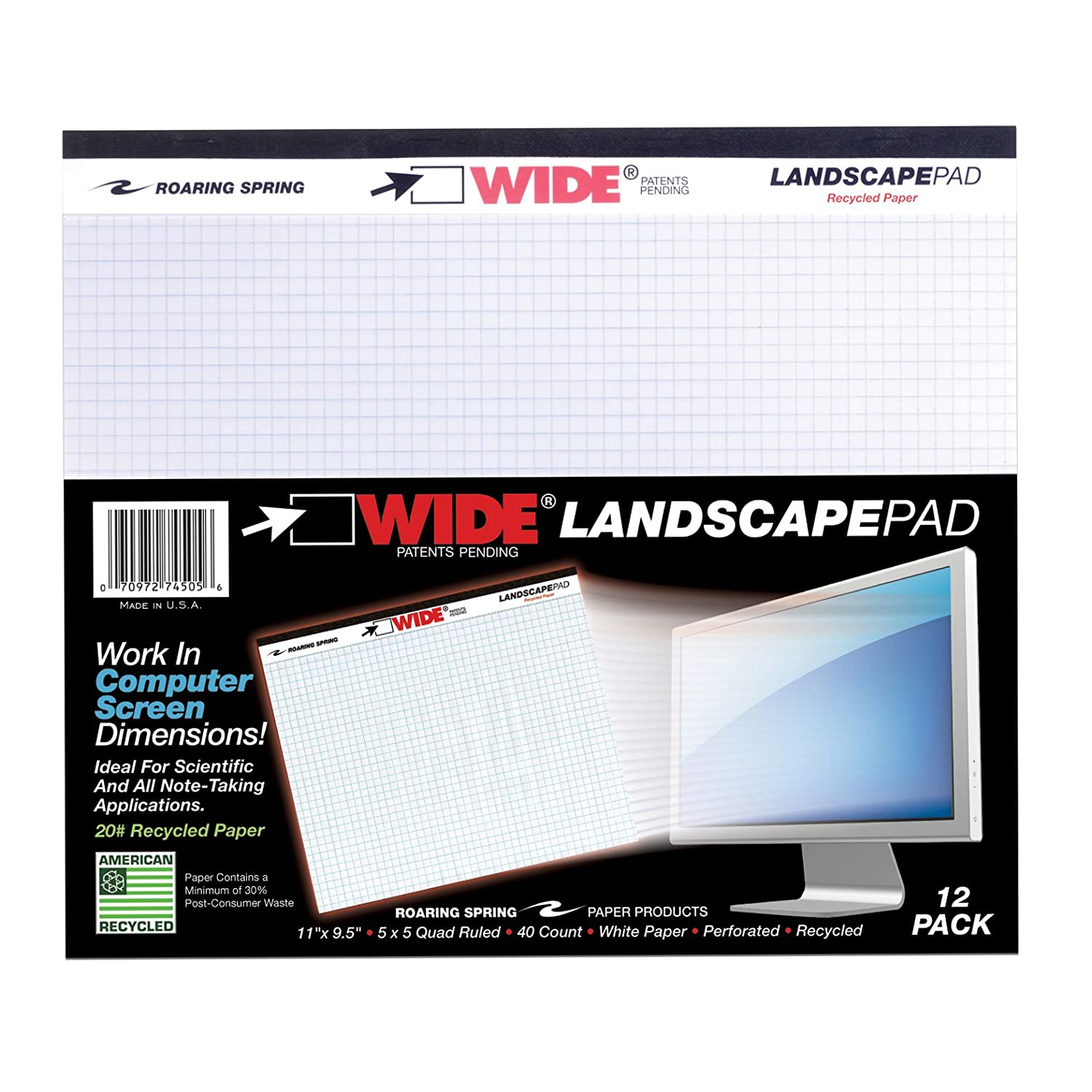 40 sheets Heavyweight 20# Recycled White Paper College Ruled W//Margin 11x9.5 Case of 18 Packs of Landscape Note Pads 2 Pads//pack Micro-Perforated