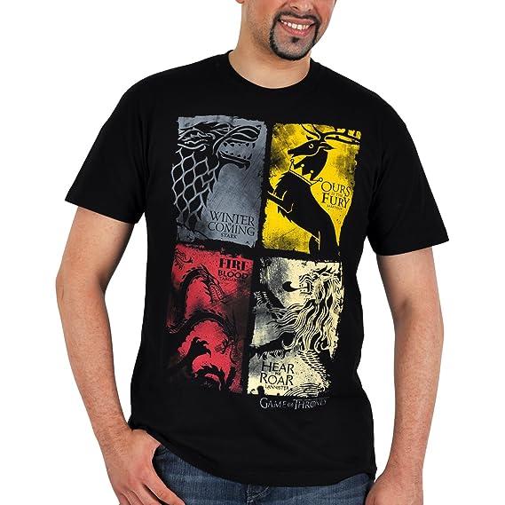 Juego de tronos - camiseta de los escudos de las casas - diseño envejecido - algodón - negra - XXL: Amazon.es: Ropa y accesorios