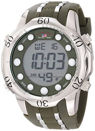 US Polo Assn. Sport Mens US9301 Olive Green Rubber Strap Digital Watch